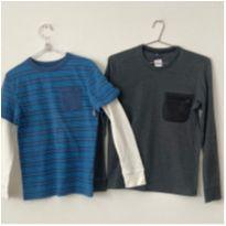 Kit 2 Camisetas (GAP Kids + Brooksfield) Manga Longa, 10-11 - 10 anos - Gap Kids e Brooksfield