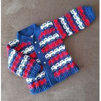 Casaco grosso de lã - 6 a 9 meses - Artesanal