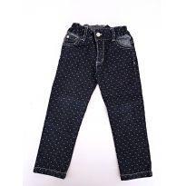 Calça Jeans Azul com bolinhas brancas pra menina da Bicho Molhado - 24 a 36 meses - Bicho Molhado