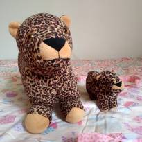 Brinquedo Educativo Mamãe Onça & Filhote  - Antialérgico -  - Bichos de Pano
