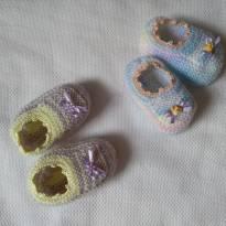 Par de Sapatilhas em Tricot - 15 - Feito à mão