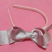 Tiara com Laço Rosa Metalizado
