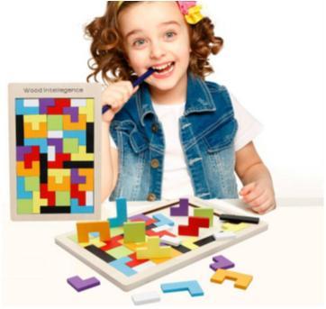 Quebra-cabeça Desafio Tetris e Tangram de Madeira - Sem faixa etaria - Importado