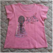 Camiseta Rosa Menina de Trança - 5 anos - sem etiqueta
