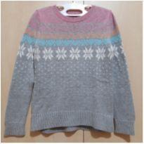 Suéter Cinza com Flocos de Neve GAP