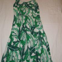 Vestido de alcinha com estampa verde e branca, super fresquinho - 12 anos - Old Navy (USA)
