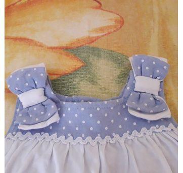 Vestido body azul e branco borboletas - 0 a 3 meses - Anjos baby