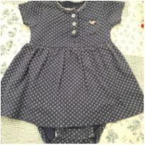 Vestido/Body  azul marinho e branco - 3 meses - Carter`s