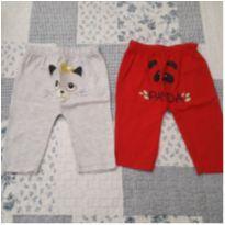 Dupla de calças (Gatinha e Panda) - 0 a 3 meses - Não informada