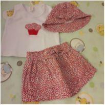 Conjuntinho 3 peças cupcake e mini flores - 3 meses - Cores Novas