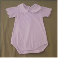 Body com bordados em guipir - 3 meses - Feito à mão