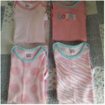 Kit 4 bodies cor de rosa - 6 a 9 meses - Gerber