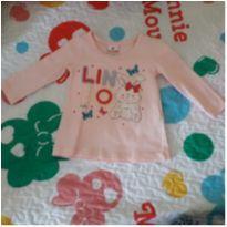 Blusa manga longa coelhinha - 6 a 9 meses - Brandili
