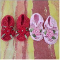 2 pares de sandalinhas de crochê (Tamanhos 17 e 18) - 18 - mm sapatinhos