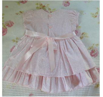 Vestido rosa bebê mini flores - 9 meses - S Baby