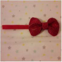 Faixa de cabelo laço strass vermelha -  - Artesanal