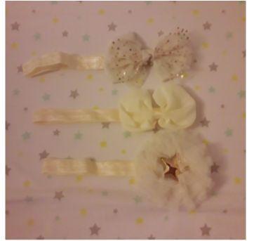 Trio faixas de cabelo off-white e douradas - Sem faixa etaria - Artesanal