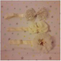 Trio faixas de cabelo off-white e douradas -  - Artesanal