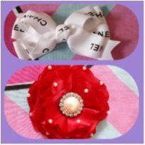 Kit laço Chanel e laço rosa vermelha -  - Artesanal