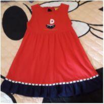 Vestido barquinho  vermelho e azul marinho ( 1 ano) - 4 anos - Jaca lele