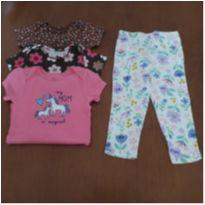Combo Carter`s 3 bodies manga curta e calça de pijama (18 meses) - 18 meses - Carter`s