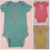 Trio de bodies coloridos (18 meses ) - 18 meses - Carter`s