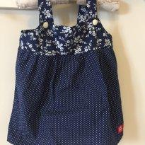 Vestido azul marinho de poás Girafa - 12 a 18 meses - Girafa Baby