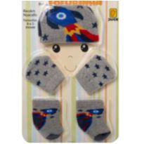 Conjunto Saida Maternidade Touca Luva Meia Kit Fofurinha Foguete - Recém Nascido - Duck.Duck