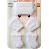 Conjunto Saida Maternidade Touca Luva Meia Kit Fofurinha Branco - Recém Nascido - Duck.Duck