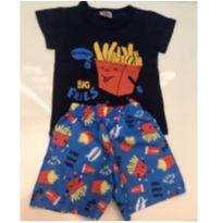 Conjunto shorts tactel e camiseta batata frita - 9 a 12 meses - Outros