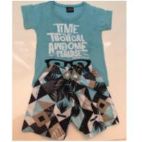 Conjunto shorts tactel e camiseta - 9 a 12 meses - Mundo Mania