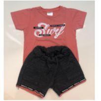 Conjunto shorts em moletom e camiseta - 9 a 12 meses - Solinho