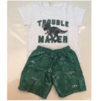 Conjunto shorts tactel e camiseta dinossauro - 9 a 12 meses - Outros