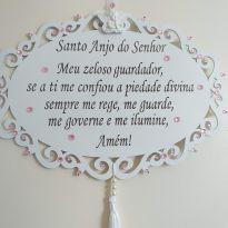 ORAÇÃO DO SANTO ANJO DO SENHOR - ROSA -  - Artesanal