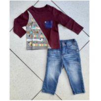 Calça jeans + blusa Alphabeto - 1 ano - Alphabeto