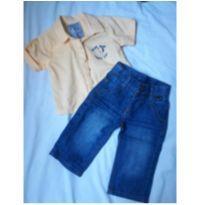 Calça Jeans + Camisa de Tecido Tigor T. Tigre - 3 a 6 meses - Tigor T.  Tigre