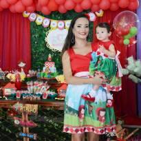 Vestido mãe e filha Chapeuzinho Vermelho - 1 ano - Artesanal