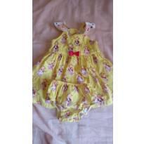 Vestido amarelo com tapa fralda Alphabeto - 9 a 12 meses - Alphabeto