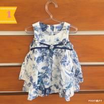 Vestido branco e azul floral Um mais Um (cód.033) - 1 ano - Um mais um e 1+1