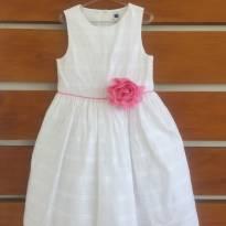 Vestido branco com flor rosa no detalhe Janie and Jack (cód.0658) - 5 anos - Janie and Jack