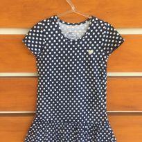 Vestido azul marinho de poá branco (cód.0711) - 6 anos - Não informada