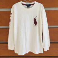 Blusa de manga comprida off-white e vinho Polo Ralph Lauren (cód.0735) - 7 anos - Polo Ralph Lauren e Ralph Lauren