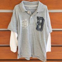 Blusa pólo de manga comprida cinza e branca GapKids (cód.0827) - 6 anos - Gap Kids e GAP