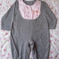 Macacão cinza e rosa - 6 a 9 meses - Travessu
