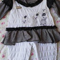 Macacão pérola e preto/prata - 6 a 9 meses - By Gabriely Baby