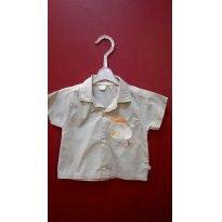 87- Camisa Bege Cachorrinho - 6 a 9 meses - Koxilinho