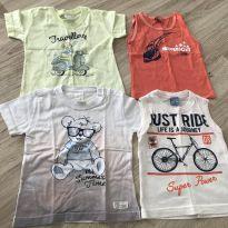 Kit 4 camiseta TAM 9 a 12 meses - 9 a 12 meses - Não informada