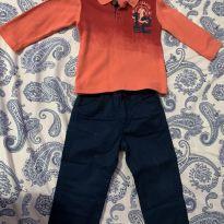 Conjunto Camiseta + Calça de Sarja TAM 2 - 2 anos - Kyly