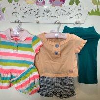 kit c/ vestido neón listrado, conjunto short e calça 18 a 24 meses - 18 meses - Várias
