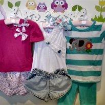 kit c/ 3 conjuntos short e calça 4-5T - 4 anos - Várias
